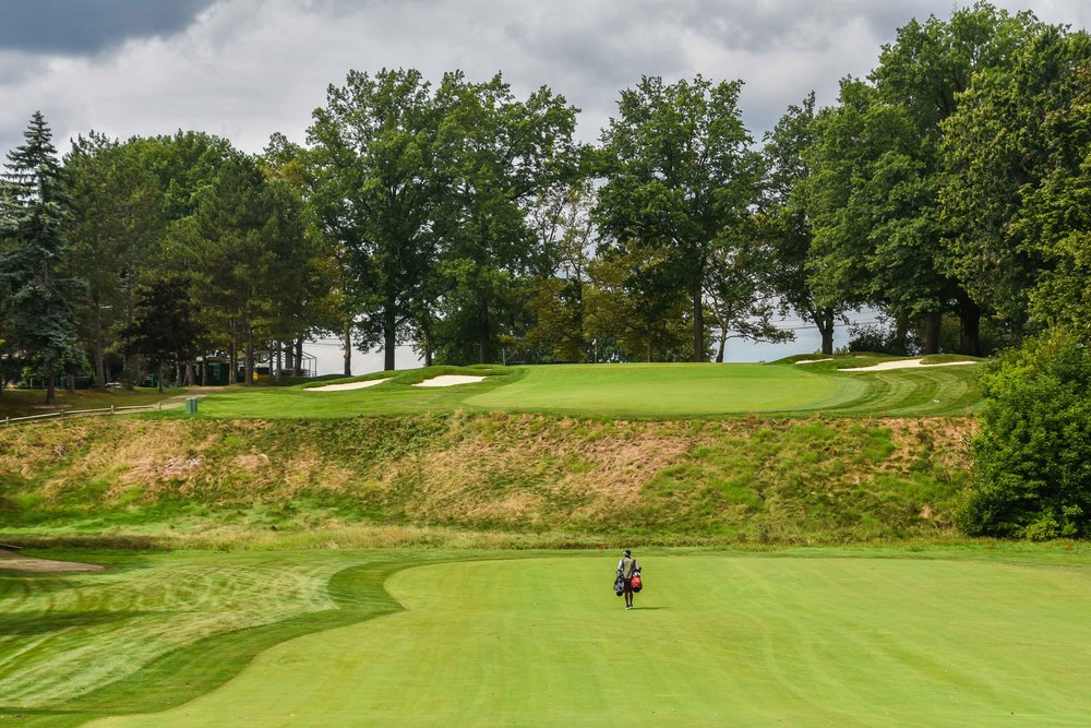 Only the purest golf shots will find the green on Canterbury's 15th hole.