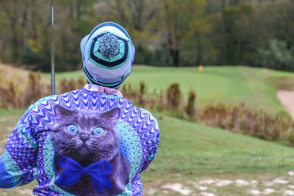 Joey The Cat dons a cat sweatshirt as he golfs his ball.