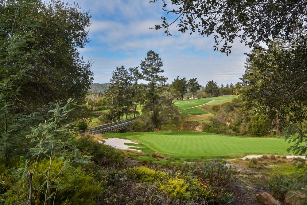 The view from behind the par 3 18th at Pasatiempo.