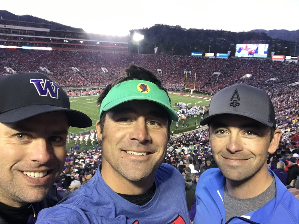 Rose Bowl selfie time with Ben and Evan.