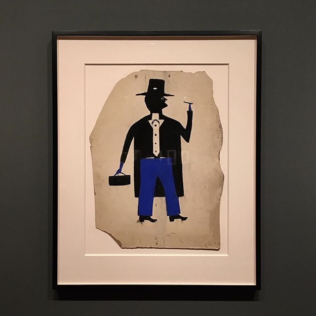 Bill Traylor, Man in Black and Blue with Cigar and Suitcase, c1939-42. A phenomenal and potent solo exhibition, Bill Traylor: Between Two Worlds at @smithsoniannpg. #billtrayor #betweentwoworlds