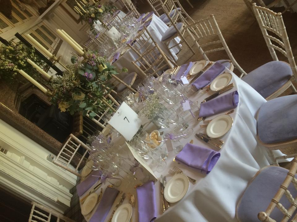 Lilac themed Castle Wedding with lilac napkins