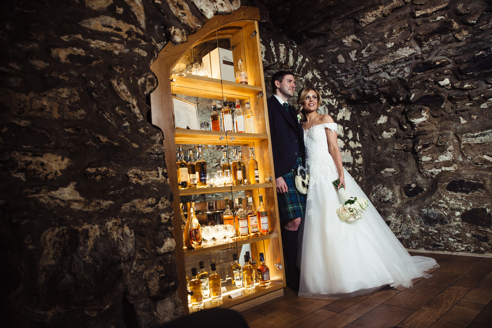 THE CAVE BAR AT MELDRUM HOUSE MADE FOR A REALLY INTERESTING SETTING PHOTOGRAPHS. TIME FOR A WEE DRAM OF COURSE!