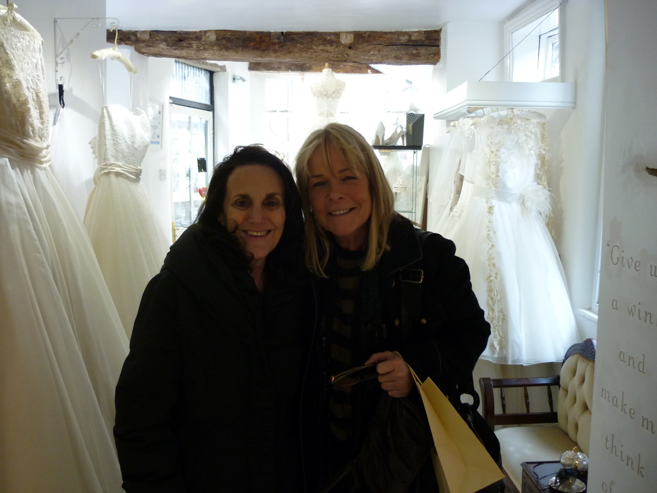 Celebrity visit to My little Wedding Shop!   Last week I was thrilled to receive a vist at My little Wedding Shop from Birds of A Feather stars Lesley Joseph and Linda Robson. They were absolutely lovely and were very taken with the boutique, taking the time to peruse the shop and Linda even purchased a pair of earrings from Big Little Things!   I was very excited and tried to act cool whilst they were in the shop but in the end I gave in to my excitement and asked them to pose for a photo, and here it is! Proof of my recent claim to fame!