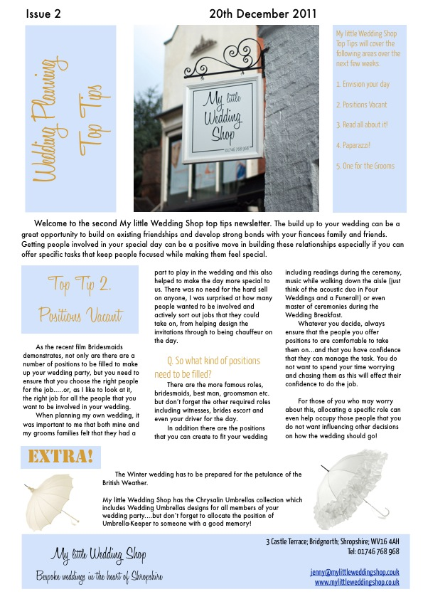 Welcome to the second My little Wedding Shop newsletter. The build up to your wedding can be a great opportunity to build on existing friendships and develop strong bonds with your fiancees family and friends. So what's the best way to get them involved?