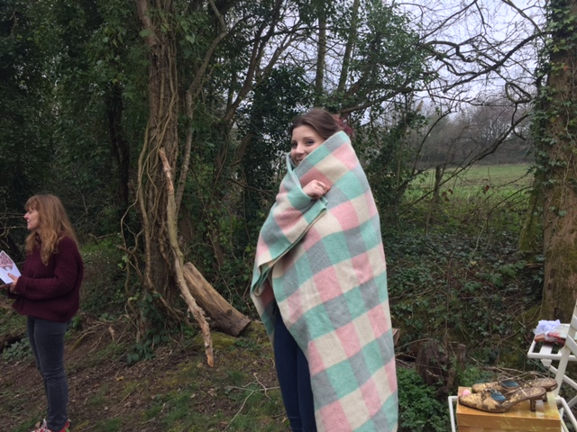 Trish from Cameo Creative Stationary & George wait on the sidelines..... snug as a bug in a rug...literally!