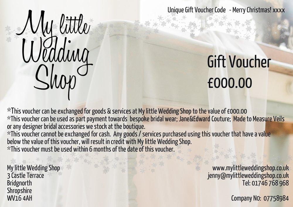 Gift Vouchers My Little Wedding Shop