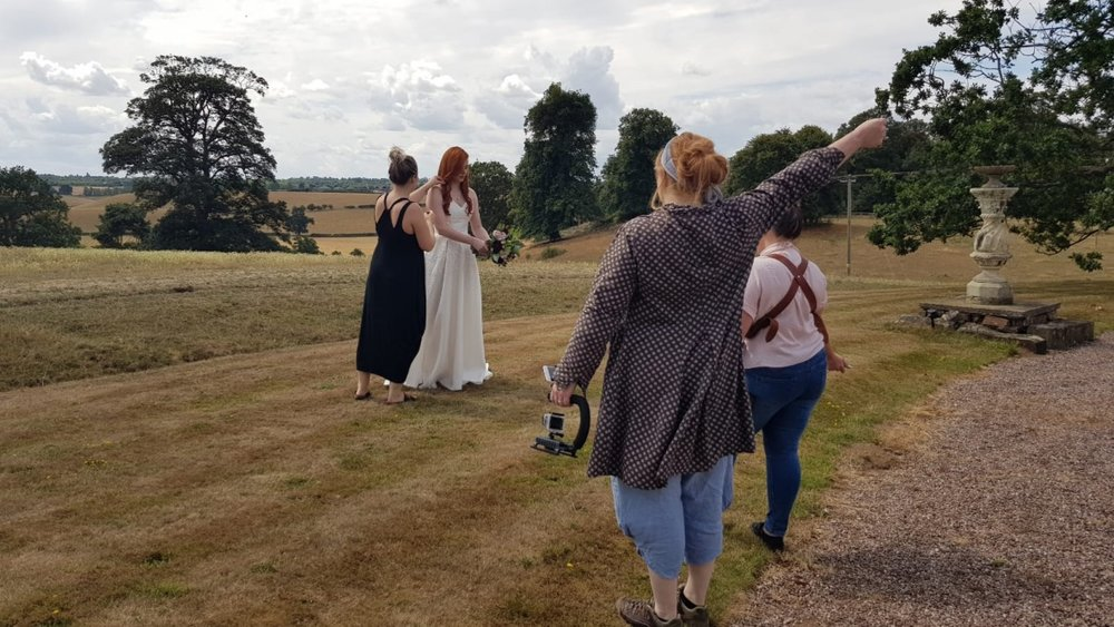 Ellis checks over Ash's hair while Steph and I practice poses!  As well as the sumptuous interiors, Davenport house is positioned in the most stunning landscape and reflects the key message of our Jane&Edward Couture designs....Inspired by & Made in Shropshire!