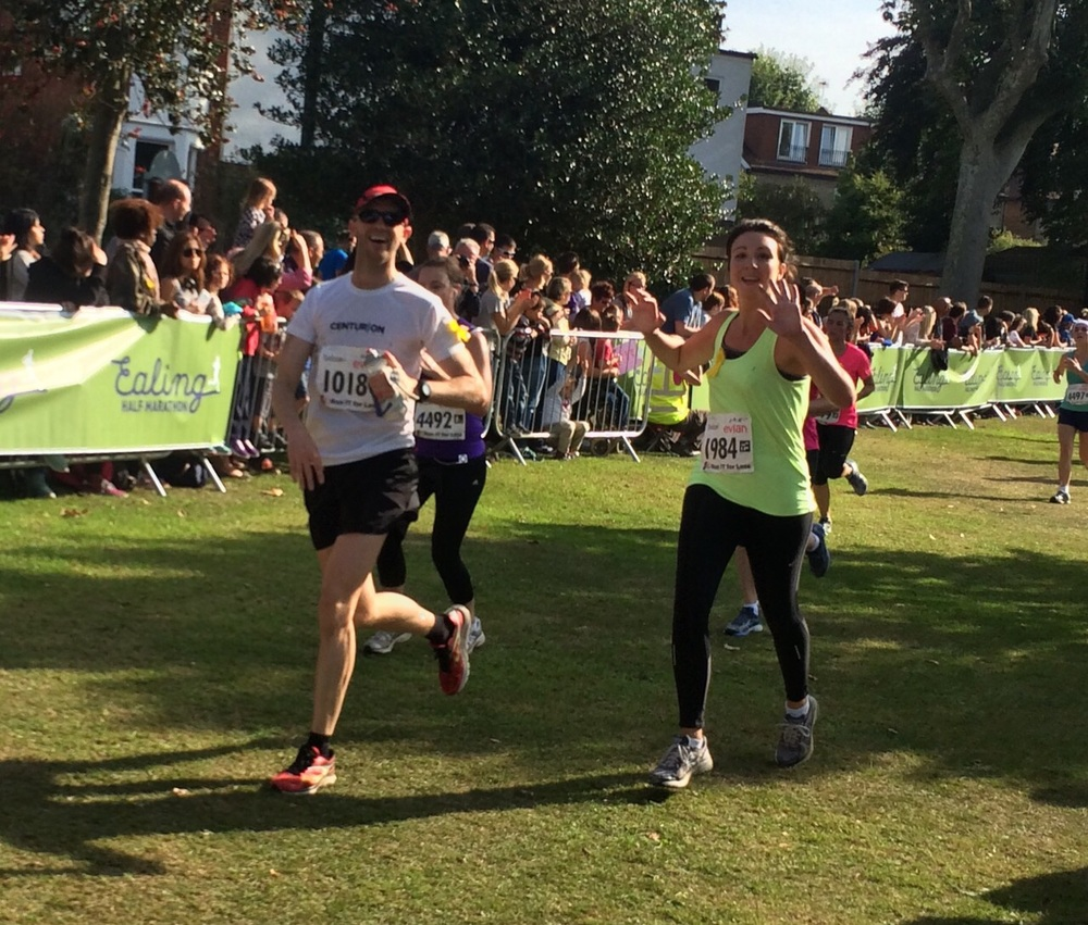 Hollie finishing the Ealing Half Marathon, September 2014
