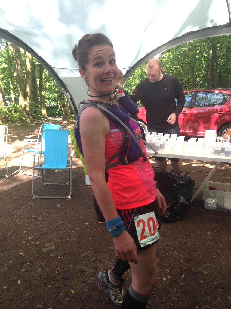 Jess at the final aid station (Botley Hill) at 43 miles (Photo: Louise Ayling)