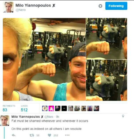 Milon tweetti jossa hän pilkkasi lihavaa ihmistä salilla...