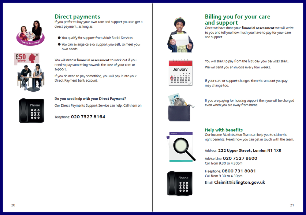 A double-page spread of the 'Charges at home' Easy Read document.   Click here to download a sample of this document