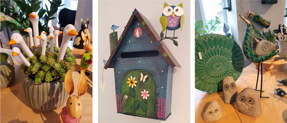 Fröhliche Blumenstecker, außergewöhnliche Postkästen und vieles mehr für Haus und Garten...