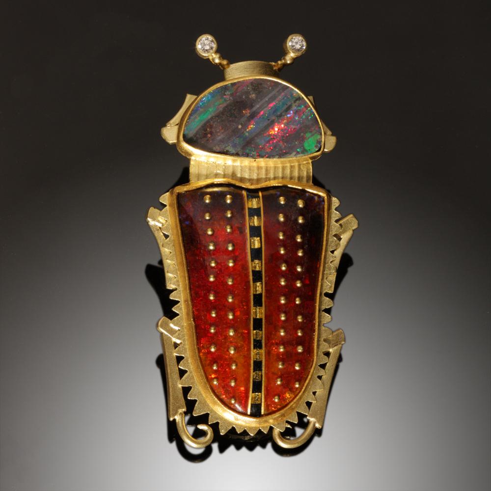 Opal Beetle Pin