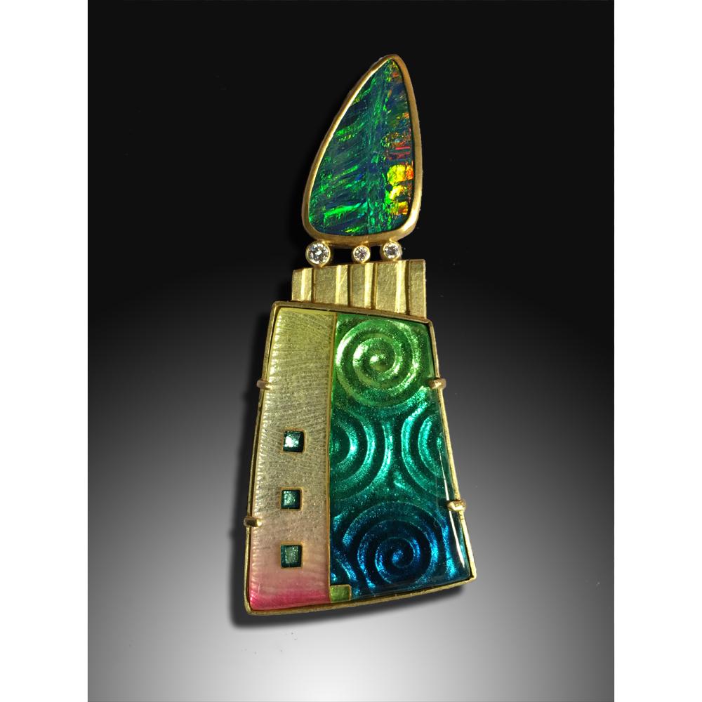 Opal Spiral Pin/Pendant