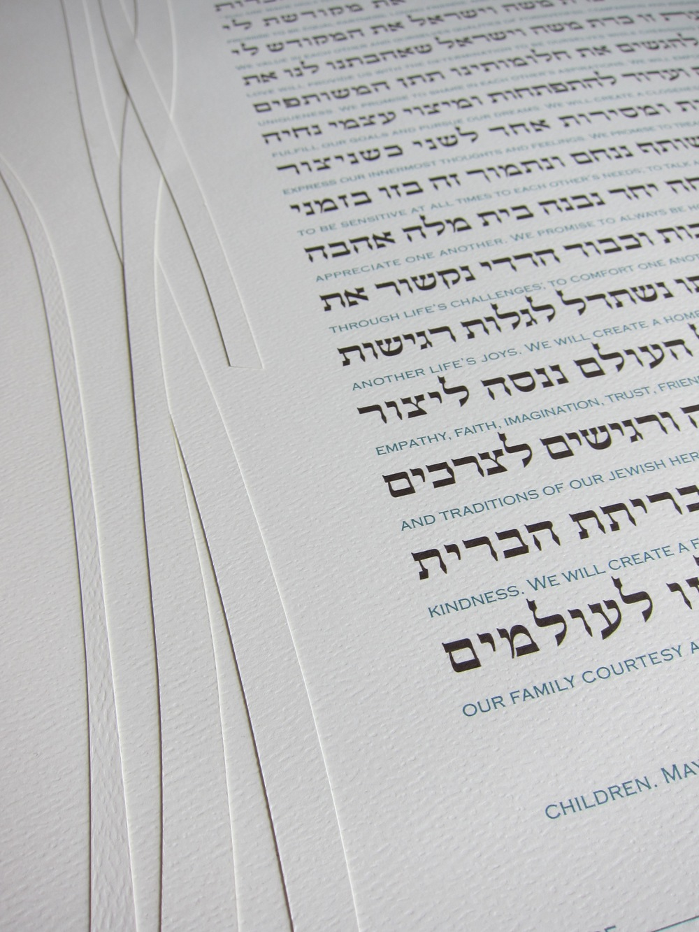Detail of Printed Brown and Blue-Green Interlinear Ketubah Texts
