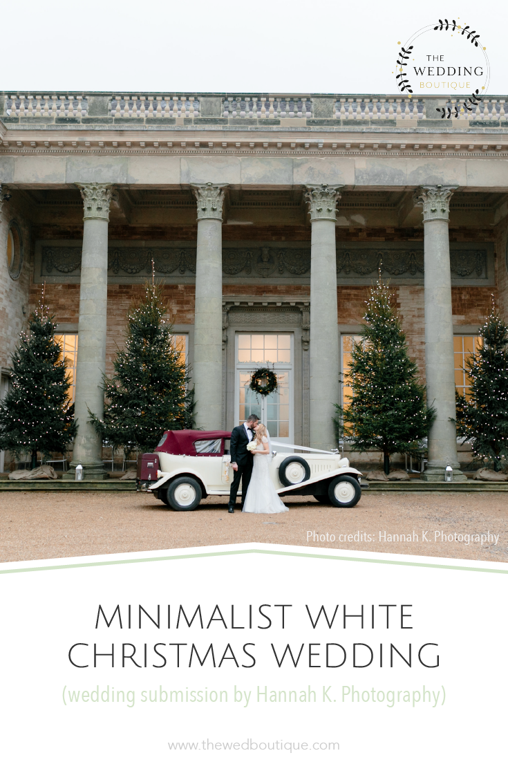 Minimalist white Christmas wedding submitted by Hannah K. Photography • The Wedding Boutique • Structure your wedding planning • www.thewedboutique.com