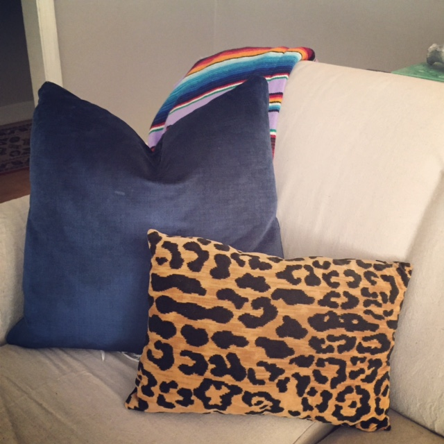navy velvet pillows DIY,  leopard pillow ,  mexican blanket , wall color sherwin williams worldly grey