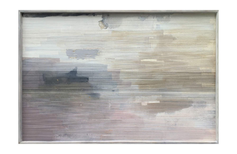 acrylic / paper/thread/goldleaf /tacks on wood  32 X 48inches