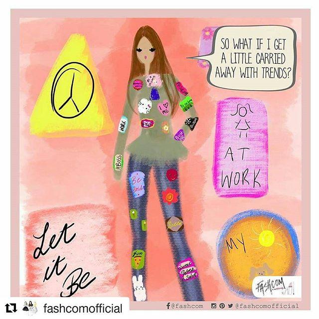 ¿Y qué si me deje llevar demasiado con la nueva tendencia? •  I'm afraid of what may come after patches! 😮 • #trends #love #fashion #illustration #fashionista #fashcom #patches #comic #art #sketch #clothes