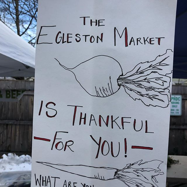 The #eglestonfarmersmarket is thankful for YOU! Come share what you're thankful for-whether it's @thirdcliffbakery treats, @justhummus.boston's zesty black bean hummus, or @brookfordfarm's pickled veggies...or maybe it's seeing family and friends at Saturday markets?  Whatever it is, we want to hear about it!  #eglestonsquare #saturdaymarket #knowyourfarmer #farmersmarket