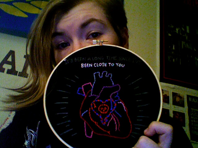 "working on an alkaline trio ""jaked on green beers"" backpatch for the lovely  lauren measure  (who, in case you didnt know, is an incredibly talented artist and just had an open studio!)    2011"