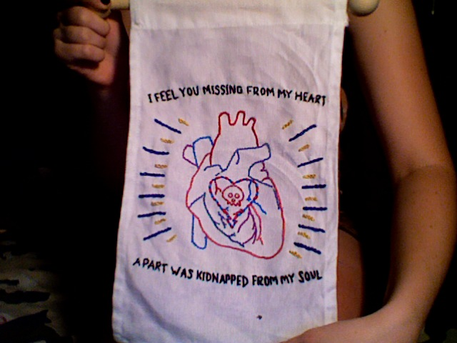 executiveproducerdickwolf :     an alkaline trio banner i made for my girl caroline's birthday, just finished today. i designed the pattern as well. also, my alkaline trio ticket came in the mail this afternoon. coincidence?     first one i ever made!