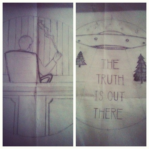 X Files (embroidery) patterns in progress! 2 of the 4 pieces coming soon. Trying to freehand stuff from now on, text included. Might use these for my December installation.