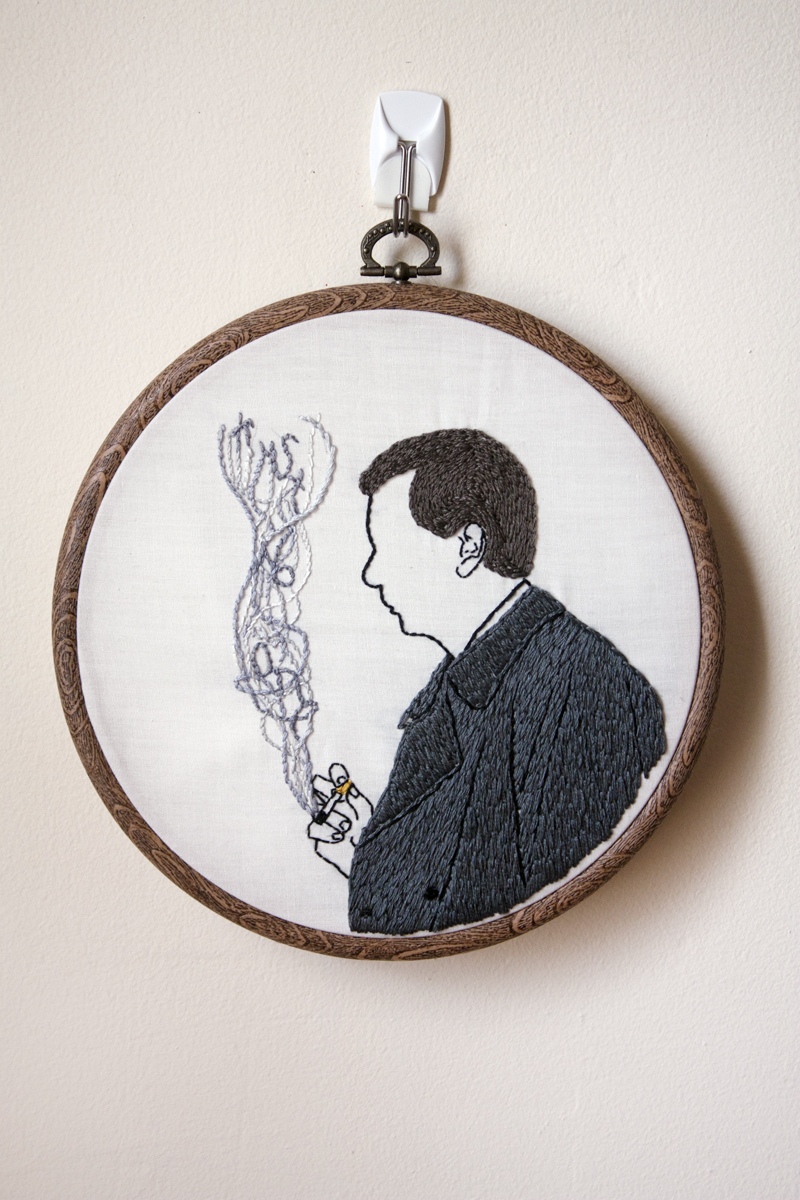 """Trust No One"" Hand embroidery on cotton 7"" Mackenzie Mollo, 2014 Edition of 5"