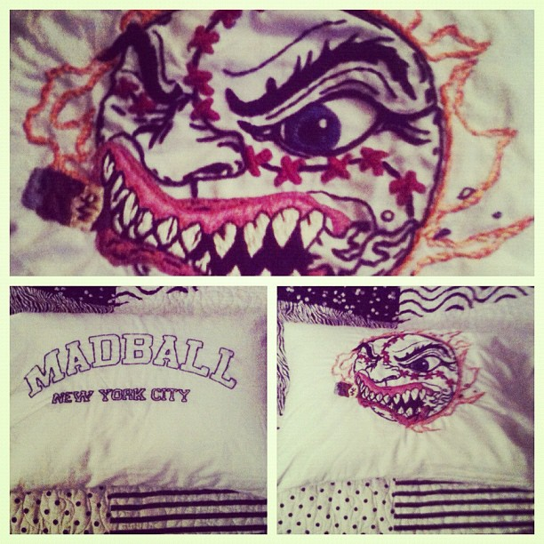 Finally finished Madball pillow. Happy birthday, Lucas! (Taken with  instagram )   2011/2012