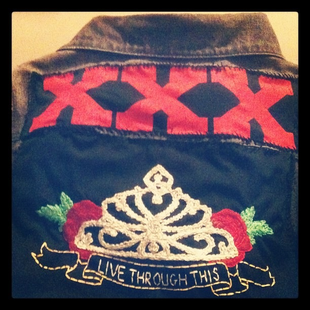 20 years ago, Live Through This was released. Will be wearing my vest with my hand-embroidered  backpatch  tonight in your honor.