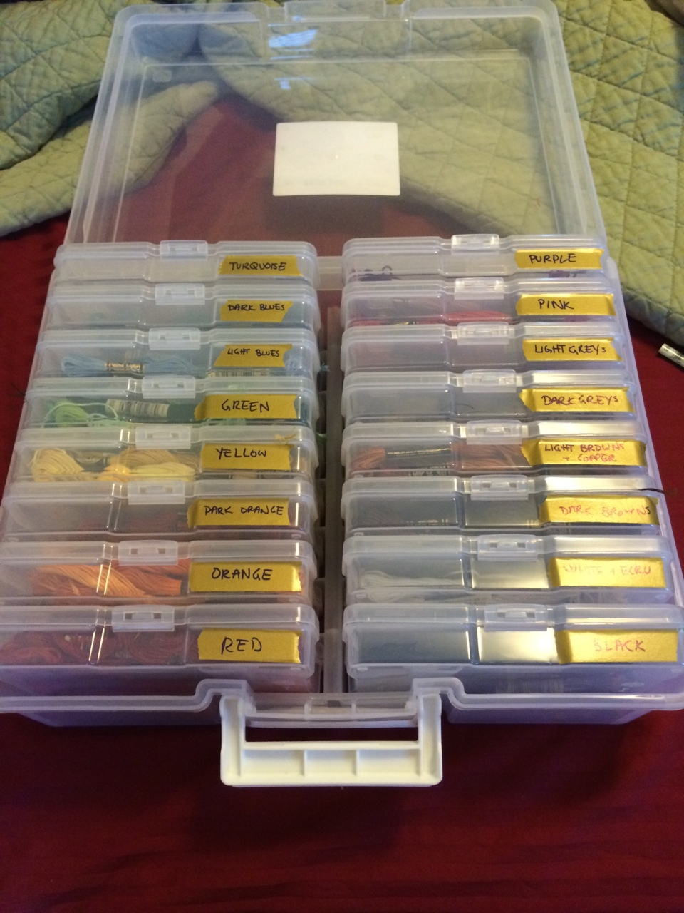 Treated myself to a new floss organization box since I had to shop for comic con supplies!