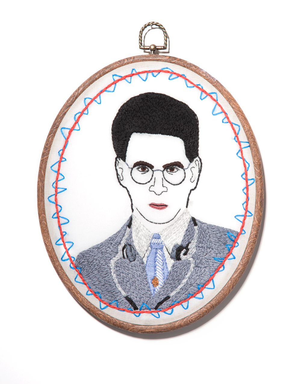 """Dr. Spengler"" Hand embroidery on cotton 8x10"" Mackenzie Mollo, 2014 (Available for sale/on display at San Diego Comic Con's art show! Artist #110)"