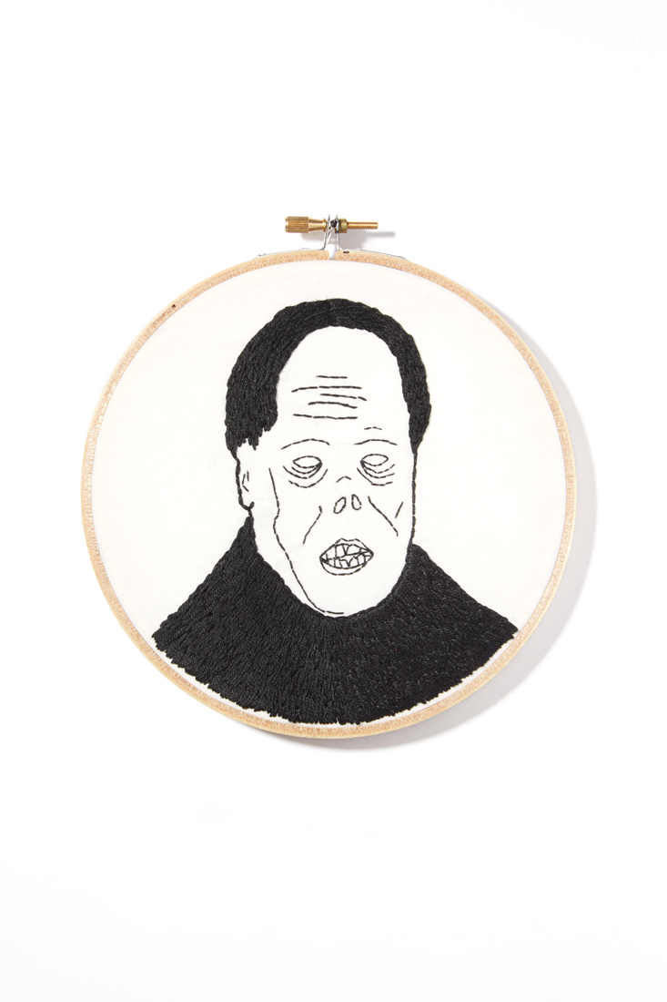 """Chaney"" Hand embroidery on cotton 6"" Mackenzie Mollo, 2014"
