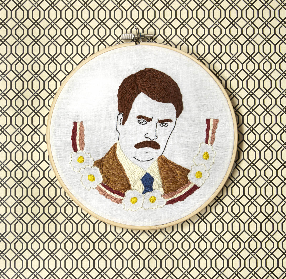 "Ron Swanson   7"" Hand embroidery on white cotton Mackenzie Mollo, 2014"