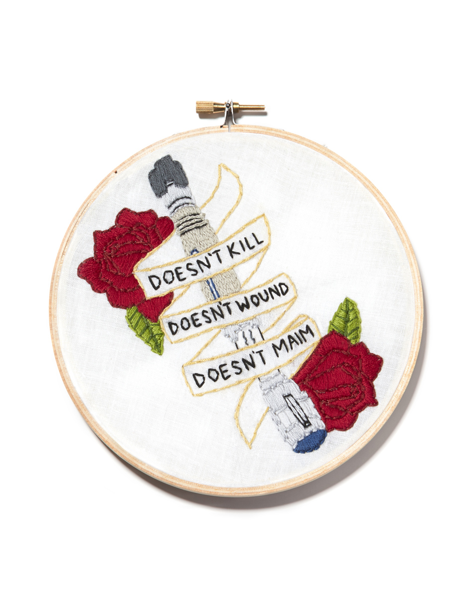 "Sonic Screwdriver 6"" Hand embroidery on white cotton Mackenzie Mollo, 2014"