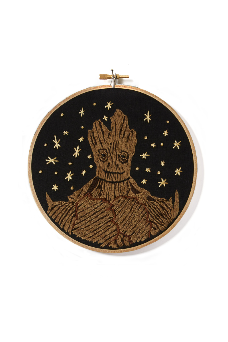 """We Are Groot""   7""   Hand embroidery on black cotton   Mackenzie Mollo, 2014   Stitches used: Split stitch, french knot, twinkles."