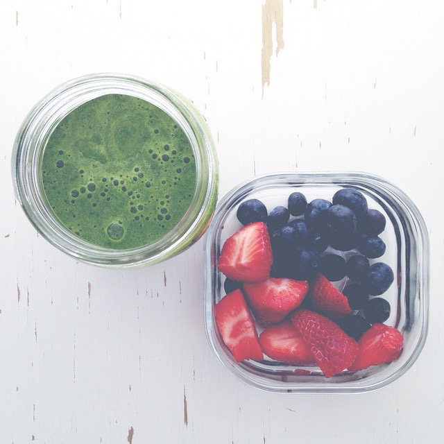 Gorgeous bowl of fresh berries and green smoothie by   Vanessa Bower @vanessabower of Toronto, Canada.