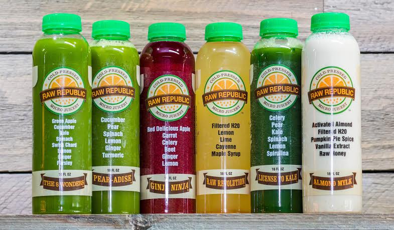 Raw Republic's most popular item is their signature organic  juice cleanse which offers 6 cold-pressed juices per day.  Photo courtesy of Raw Republic.