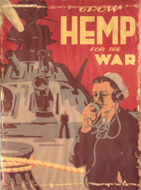 "The ban on growing hemp was temporarily lifted in 1942 when the US government launched the ""  hemp for victory  "" campaign encouraging farmers to grow hemp in support of war efforts.   Image from Manitoba Harvest Hemp Foods  .*"