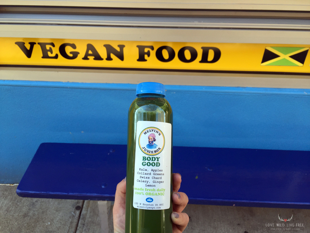 Melvin's Juice Box Body Good Green Juices, made with organic kale, apples, collard greens, swiss chard, celery, ginger and lemon. Photo by Love Wild Live Free.