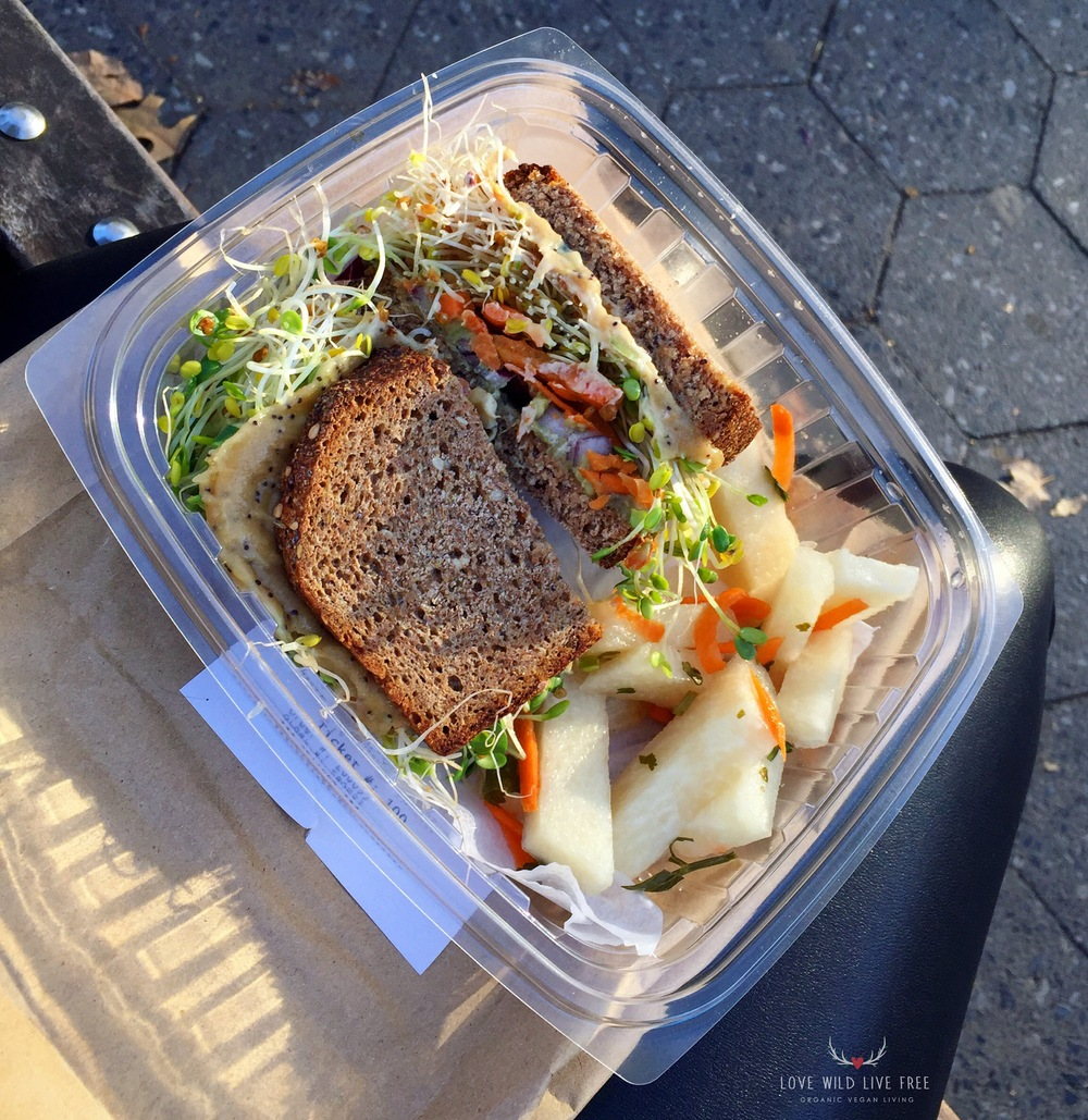 Tahini Sprouts Sandwich from Peacefood Cafe. Photo by Love Wild Live Free.