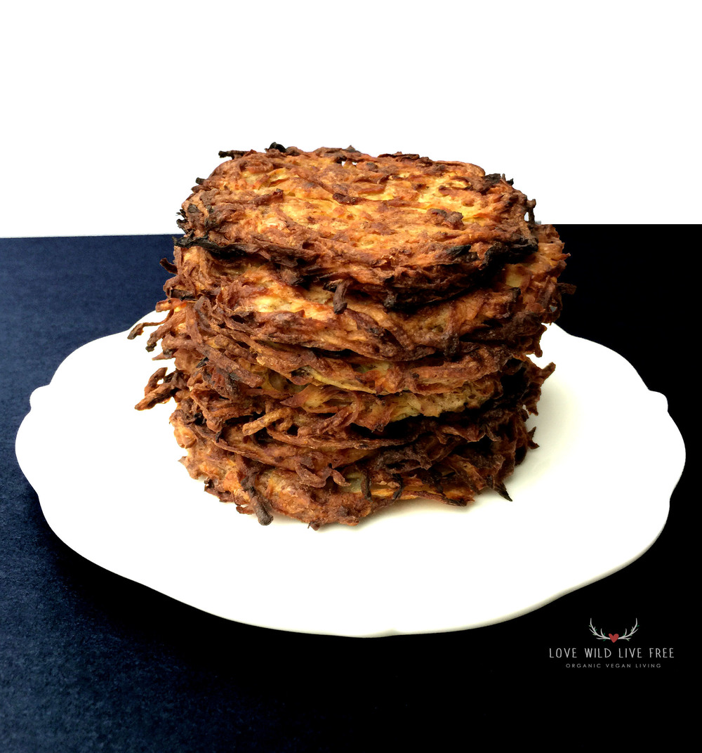 A serious stack of baked (not fried!) gluten-free & vegan Potato Latke Pancakes. Yum!