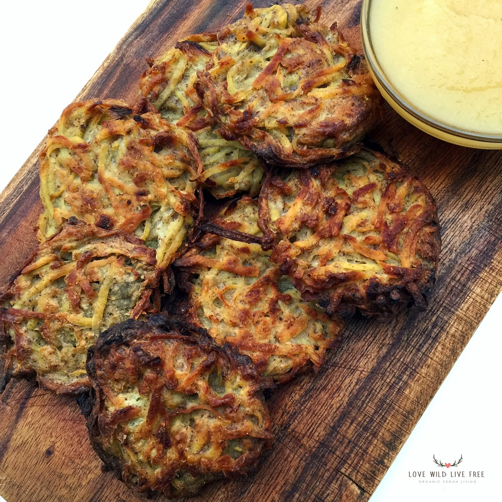 Easy to make and guilt-free baked (not fried!) gluten-free & vegan Potato Latke Pancakes.