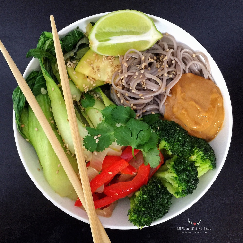 Soba Noodle Bowl with The ULTIMATE Peanut Sauce. I am obsessed with this sauce - it is simple to make in under 5 minutes and has the perfect ratio of sweet and spicy, with loads of flavour from the fresh ginger + lime juice. Perfect for dipping rice wraps or drizzling over steamed veggies.