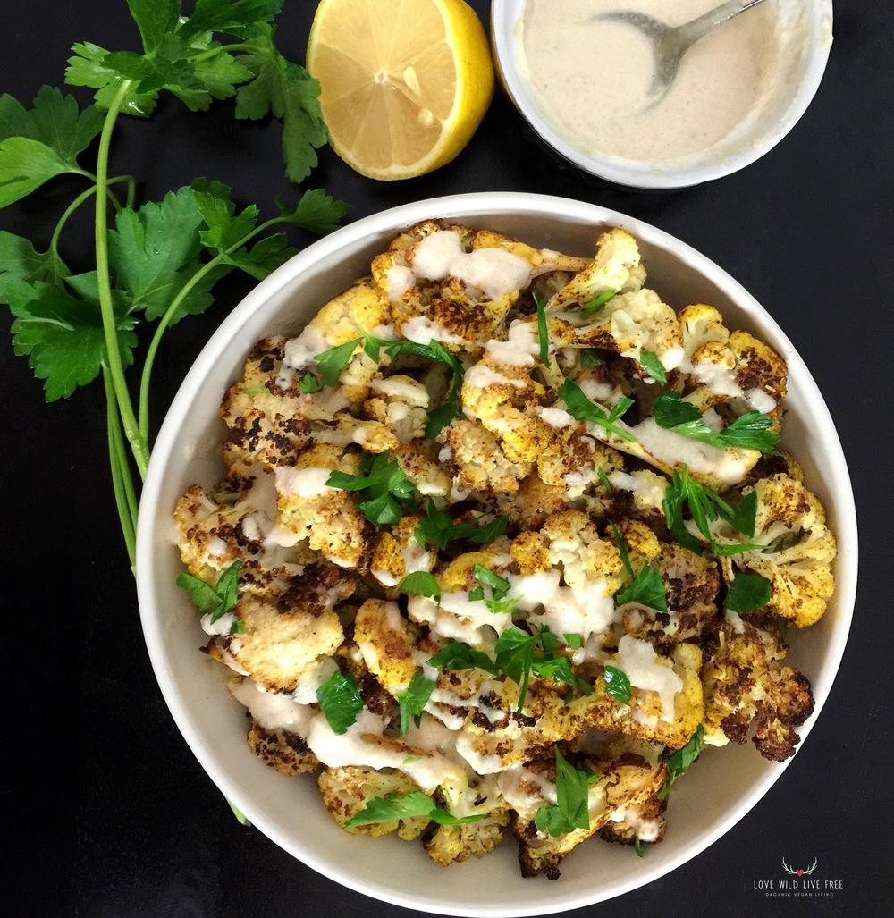 Moroccan Cauliflower + Lemon Tahini Sauce.
