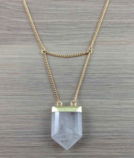 Short or long Crystal Quartz Necklace Necklace from Subject II Change. 14KG plated chain, Gold plated Quartz Crystal stone, Gold Plated lobster clasp and Gold Plated findings.   Quartz Crystal: Increases spiritual wisdom, insight and clarity of thought. Useful to heal emotional wounds. Increasing intuition and amplifies prayers. Good for treating headaches, dizziness and general pain relief. This is a balancing stone.  Photo source: Subject II Change.