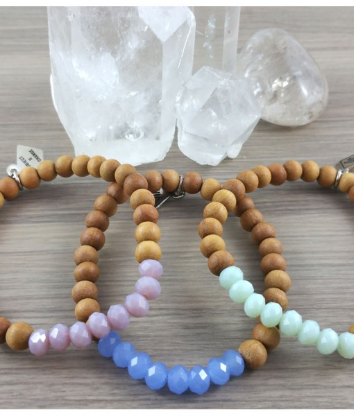 Crystal Power Bracelets from Subject II Change. Materials: Sandalwood Beads from Bali, Czech Crystal beads, and clear elastic cording.  Sandalwood: Is a both soothing and fragrant. It attracts positive energy, and clear perception and promotes tranquility. Wearing Sandalwood acts as an antidepressant, antiseptic, and is a sedative wood. It promotes healing of the cells and assist the immune system with preventing illness.  Photo source: Subject II Change.