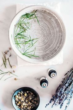 Create a relaxing mini-steam at home using essential oils like Eucalyptus, Rosemary, or Lavender.  Image courtesy of Province Apothecary, source:  Pinteres  t .