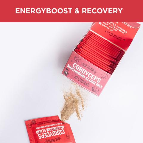 Four Sigmatic Cordyceps Mushroom Elixir Mix for an energy boost and recovery. Image courtesy of Four Sigmatic.